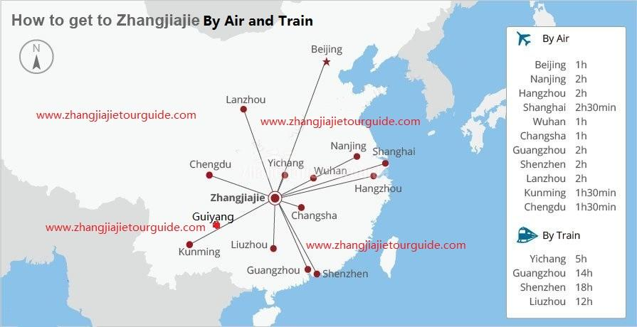 Transportation to Zhangjiajie Map