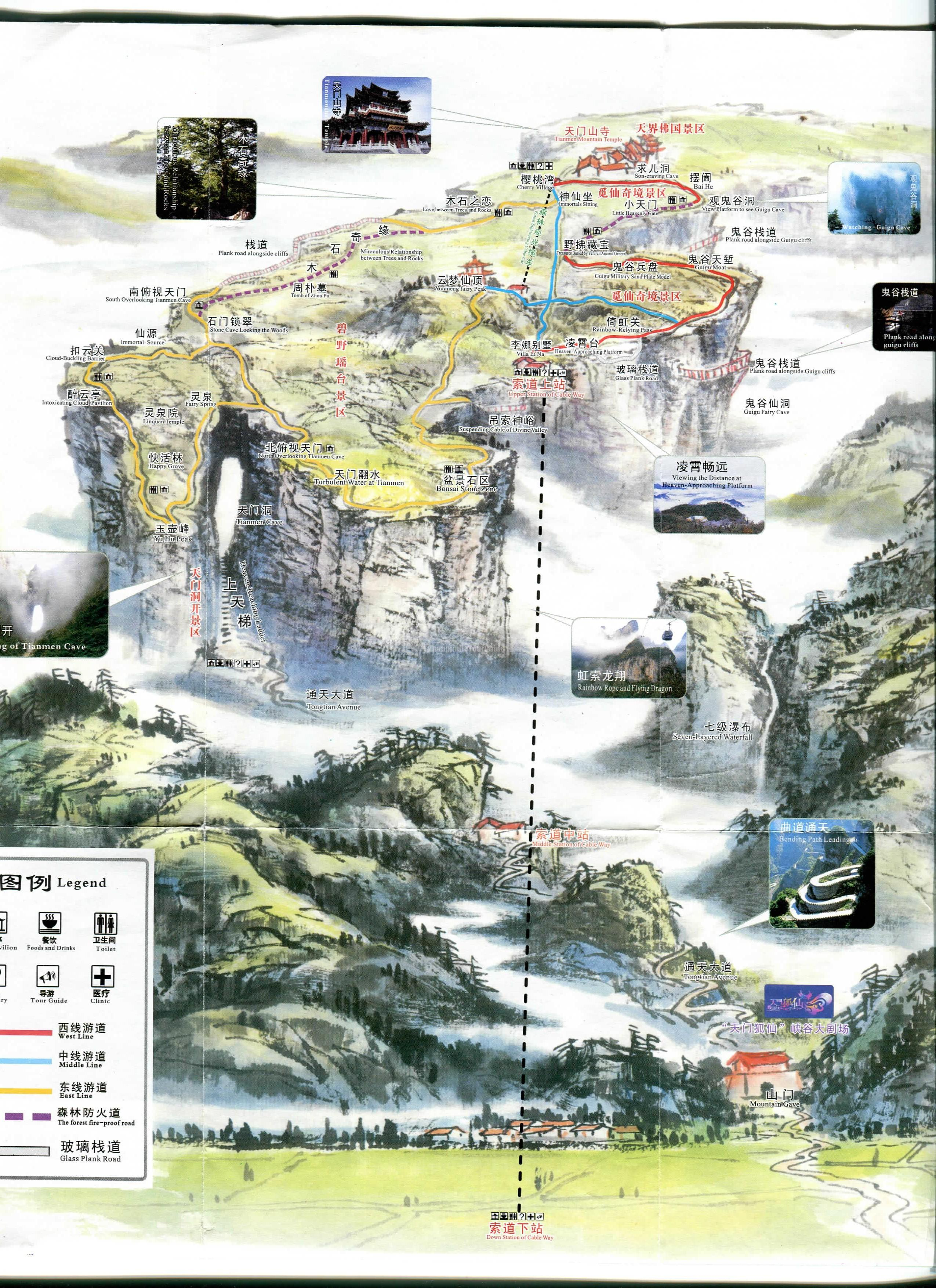 Zhangjiajie Tianmen Mountain Map