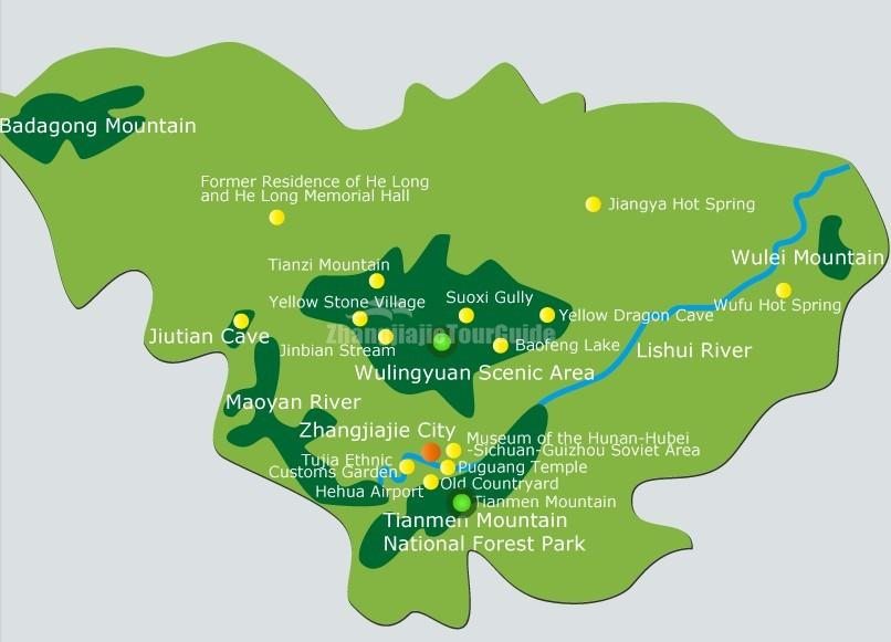 Zhangjiajie Tourist Attractions Map